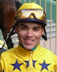 Jockey Joel Rosario won his second of four races Saturday aboard #7 No Guessing
