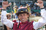 Jockey Garrett Gomez went wire-to-wire on #9 Belongs to Gotham