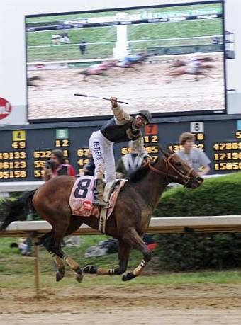 Jockey Calvin Borel celebrates May 2 Kentucky Derby win