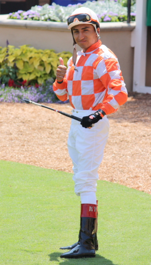 Jockey Rafael Bejarano will ride with a protective face mask when he returns from injury Aug. 28.