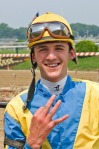 Jockey Kyle Kaenel rocked the tote board to the tune of $157 with Spartan Jet